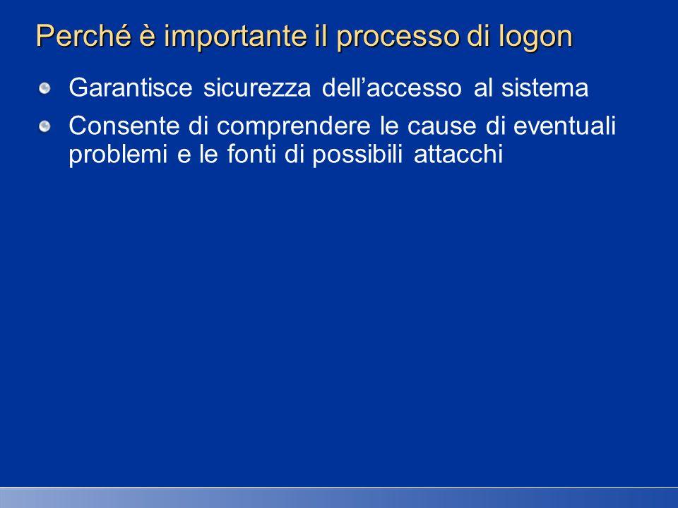 Perché è importante il processo di logon Garantisce sicurezza dellaccesso al sistema Consente di comprendere le cause di eventuali problemi e le fonti