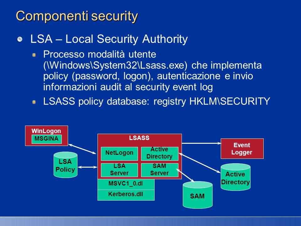 Componenti LSASS SAM Service Insieme di funzioni (\Windows\System32\Samsrv.dll ) responsabili del database contenente utenti e gruppi definiti sulla macchina locale Database SAM database: Contiene utenti e gruppi locali, con rispettivi password e attributi.
