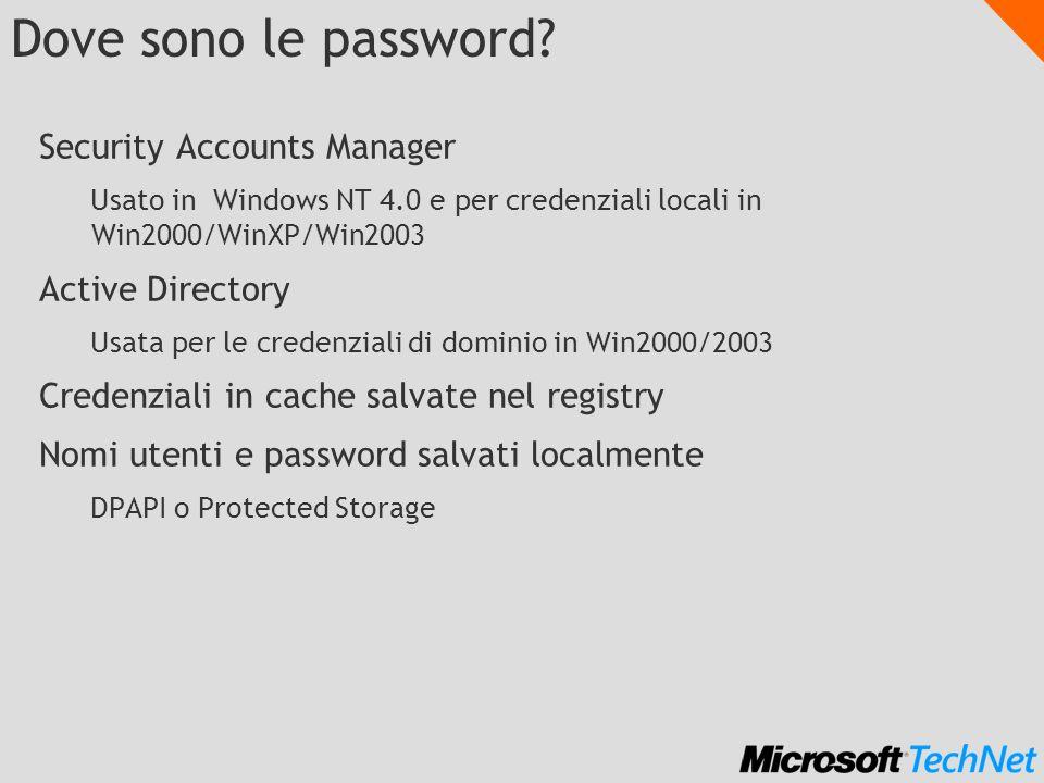 Dove sono le password? Security Accounts Manager Usato in Windows NT 4.0 e per credenziali locali in Win2000/WinXP/Win2003 Active Directory Usata per