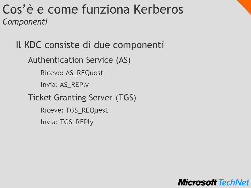 Cosè e come funziona Kerberos Componenti Il KDC consiste di due componenti Authentication Service (AS) Riceve: AS_REQuest Invia: AS_REPly Ticket Grant