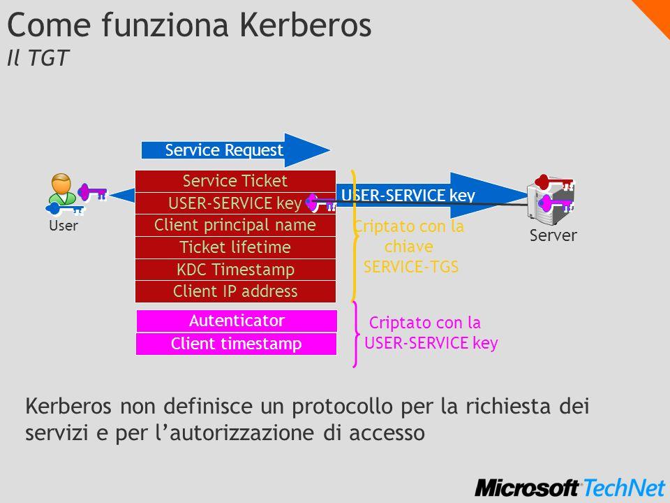 Dialogo criptato con la USER-SERVICE key Come funziona Kerberos Il TGT Kerberos non definisce un protocollo per la richiesta dei servizi e per lautori