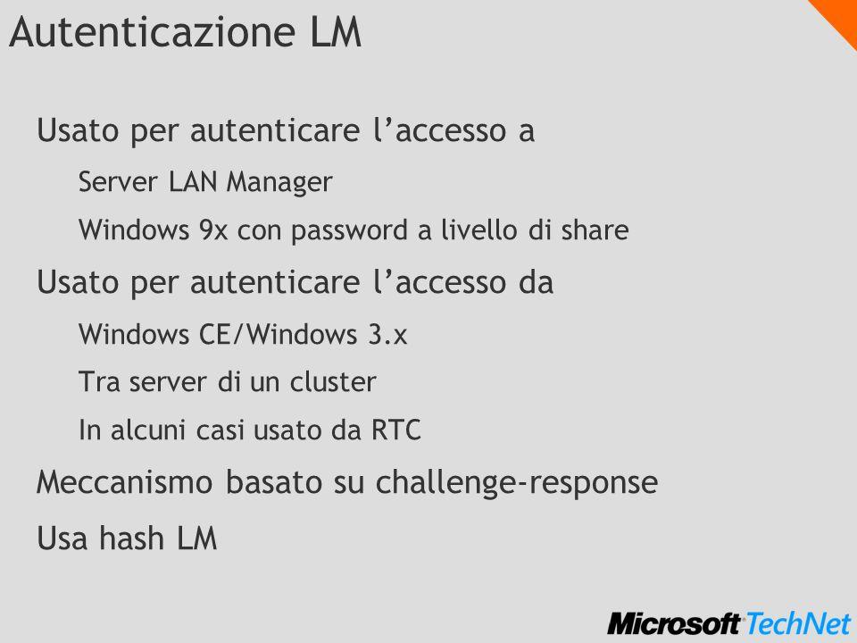 Autenticazione LM Usato per autenticare laccesso a Server LAN Manager Windows 9x con password a livello di share Usato per autenticare laccesso da Win