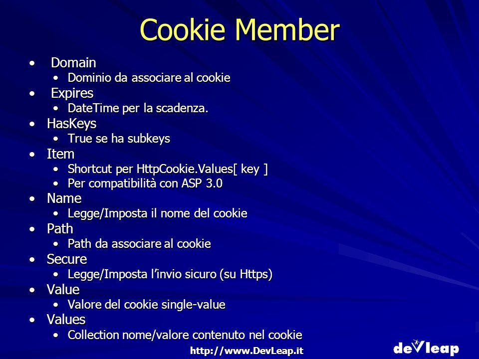 http://www.DevLeap.it Cookie Member Domain Domain Dominio da associare al cookieDominio da associare al cookie Expires Expires DateTime per la scadenza.DateTime per la scadenza.