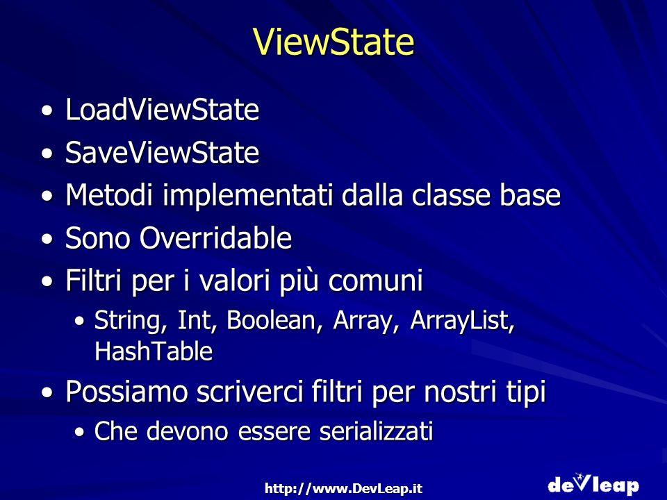 http://www.DevLeap.it ViewState LoadViewStateLoadViewState SaveViewStateSaveViewState Metodi implementati dalla classe baseMetodi implementati dalla classe base Sono OverridableSono Overridable Filtri per i valori più comuniFiltri per i valori più comuni String, Int, Boolean, Array, ArrayList, HashTableString, Int, Boolean, Array, ArrayList, HashTable Possiamo scriverci filtri per nostri tipiPossiamo scriverci filtri per nostri tipi Che devono essere serializzatiChe devono essere serializzati