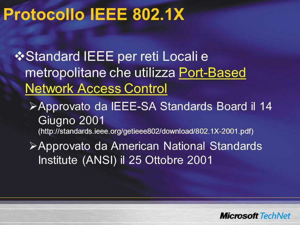 Standard IEEE per reti Locali e metropolitane che utilizza Port-Based Network Access Control Approvato da IEEE-SA Standards Board il 14 Giugno 2001 (h