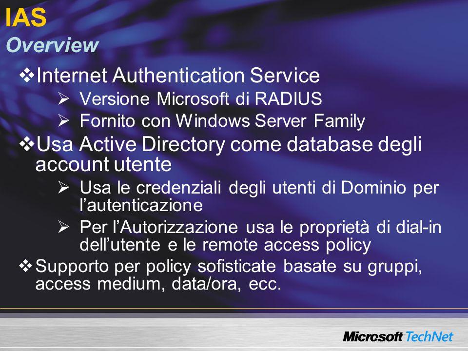 IAS Overview Internet Authentication Service Versione Microsoft di RADIUS Fornito con Windows Server Family Usa Active Directory come database degli a
