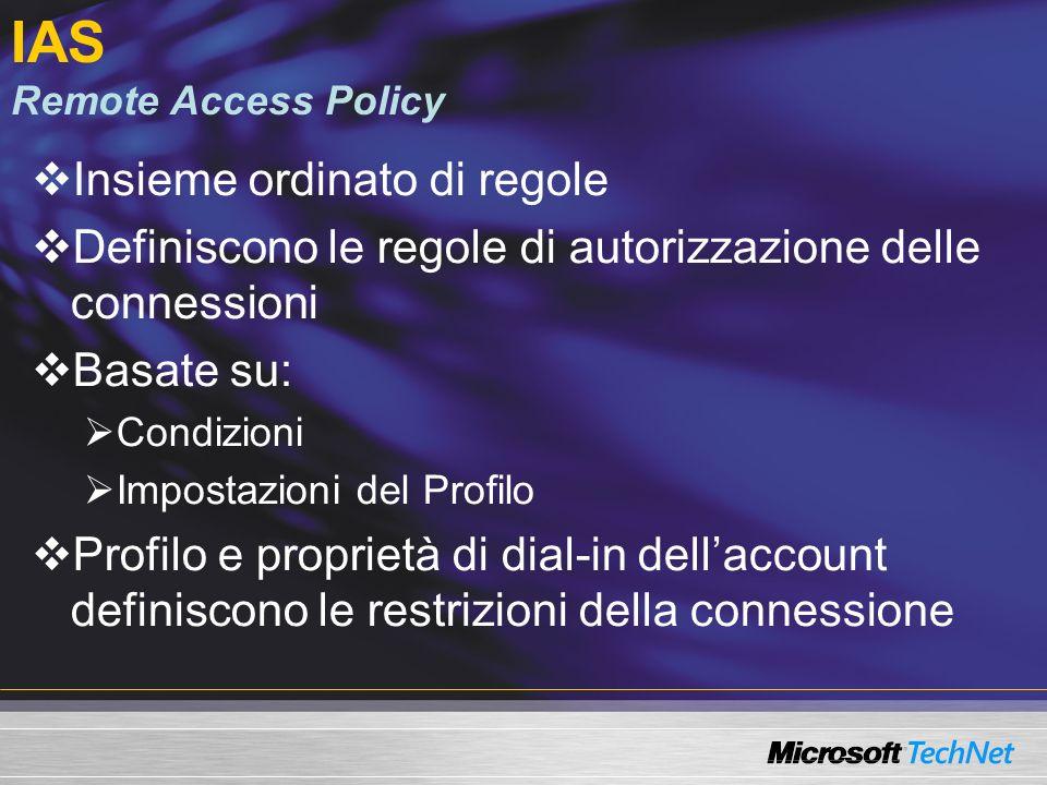 IAS Remote Access Policy Insieme ordinato di regole Definiscono le regole di autorizzazione delle connessioni Basate su: Condizioni Impostazioni del P