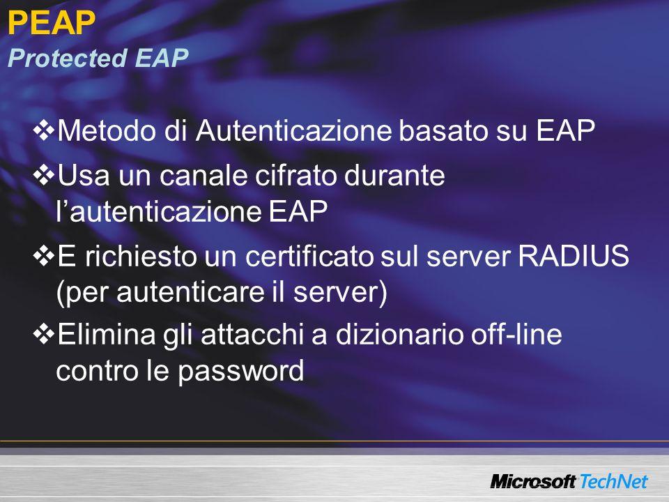 PEAP Protected EAP Metodo di Autenticazione basato su EAP Usa un canale cifrato durante lautenticazione EAP E richiesto un certificato sul server RADI