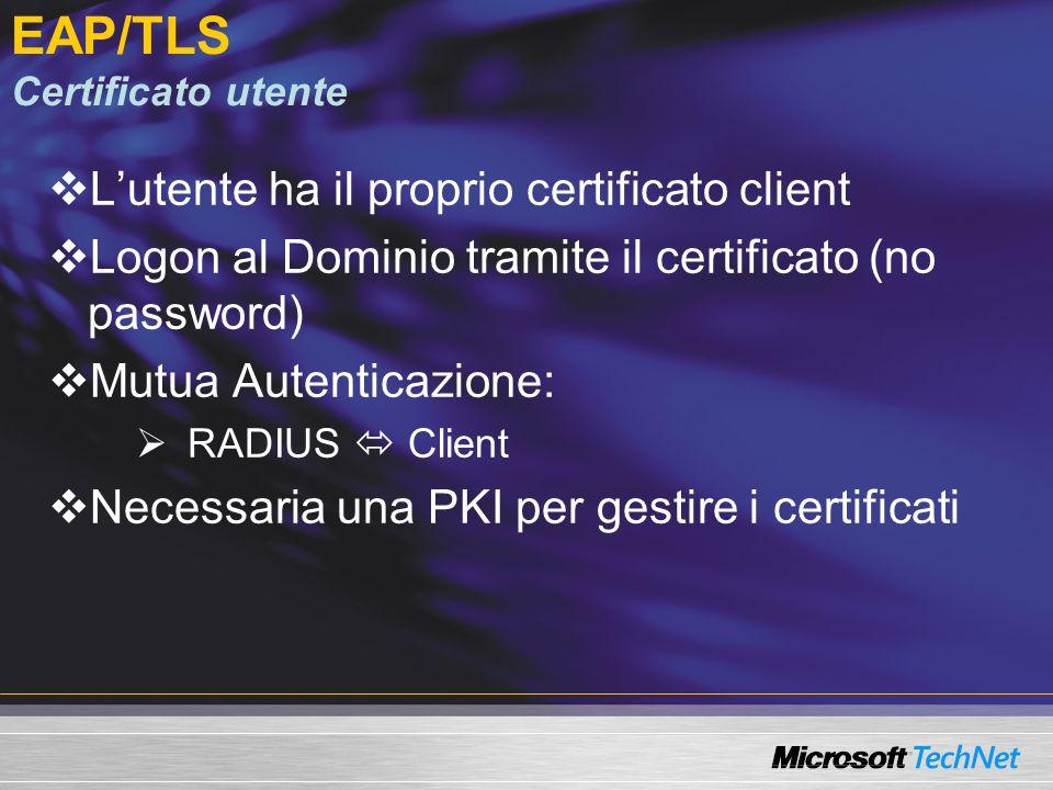 EAP/TLS Certificato utente Lutente ha il proprio certificato client Logon al Dominio tramite il certificato (no password) Mutua Autenticazione: RADIUS Client Necessaria una PKI per gestire i certificati