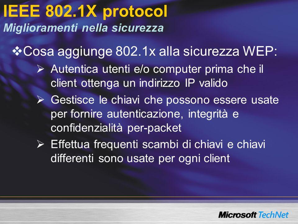 IEEE 802.1X protocol Miglioramenti nella sicurezza Cosa aggiunge 802.1x alla sicurezza WEP: Autentica utenti e/o computer prima che il client ottenga