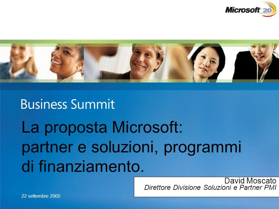 22 settembre 2005 La proposta Microsoft: partner e soluzioni, programmi di finanziamento. David Moscato Direttore Divisione Soluzioni e Partner PMI