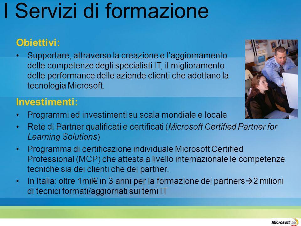 Obiettivi: Supportare, attraverso la creazione e laggiornamento delle competenze degli specialisti IT, il miglioramento delle performance delle aziende clienti che adottano la tecnologia Microsoft.