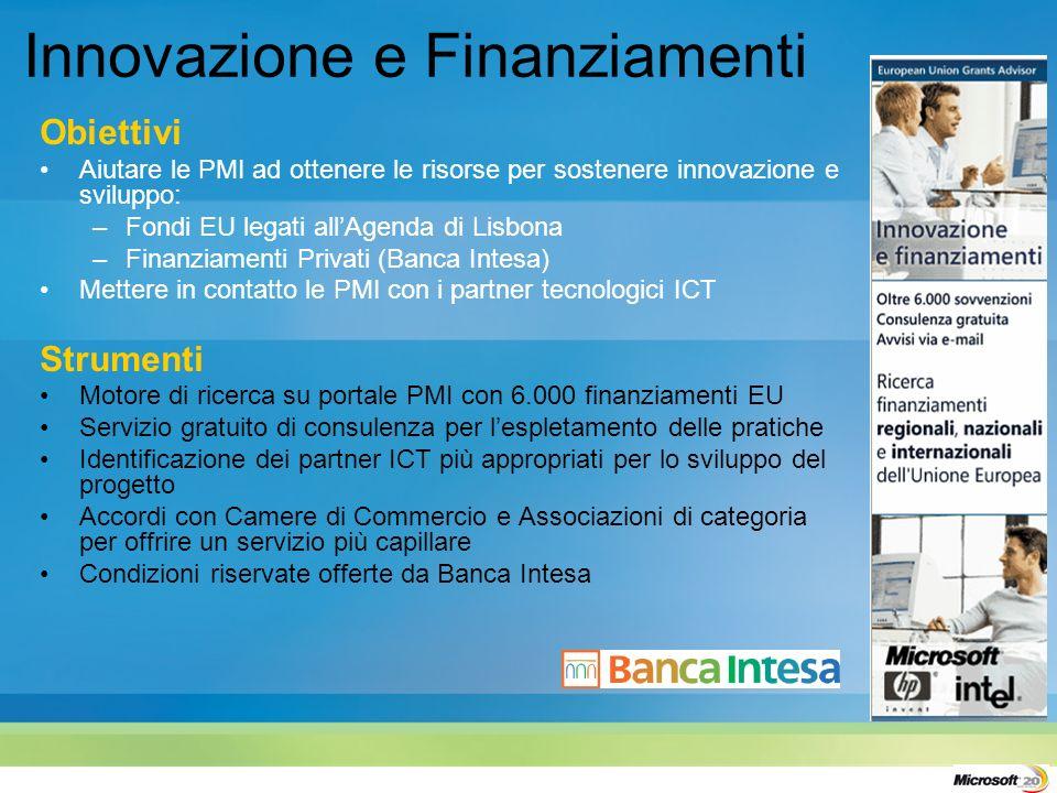 Innovazione e Finanziamenti Obiettivi Aiutare le PMI ad ottenere le risorse per sostenere innovazione e sviluppo: –Fondi EU legati allAgenda di Lisbon