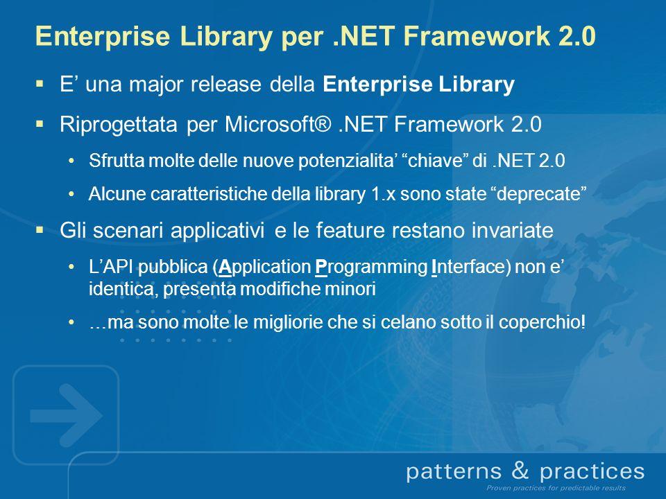 Enterprise Library per.NET Framework 2.0 E una major release della Enterprise Library Riprogettata per Microsoft®.NET Framework 2.0 Sfrutta molte dell