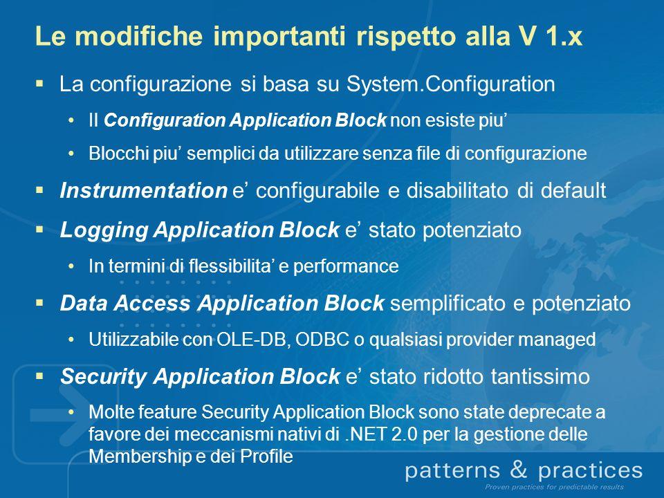 Le modifiche importanti rispetto alla V 1.x La configurazione si basa su System.Configuration Il Configuration Application Block non esiste piu Blocch