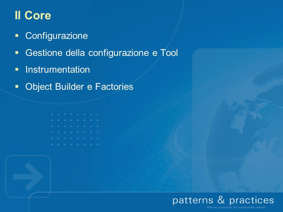 Il Core Configurazione Gestione della configurazione e Tool Instrumentation Object Builder e Factories