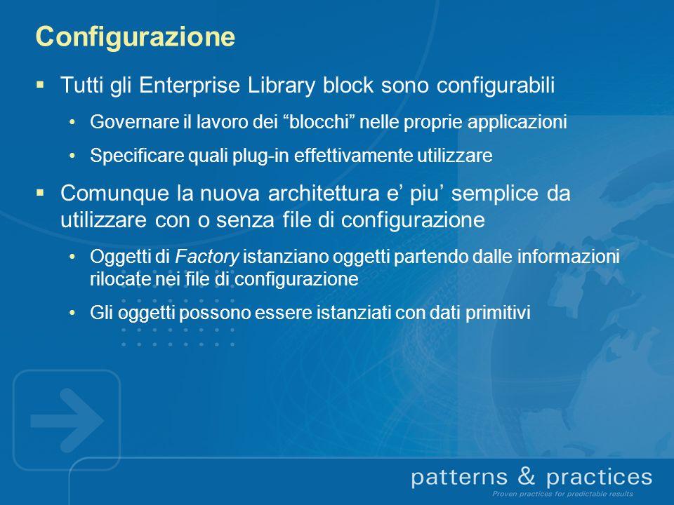 Configurazione Tutti gli Enterprise Library block sono configurabili Governare il lavoro dei blocchi nelle proprie applicazioni Specificare quali plug