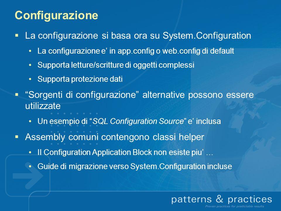 Configurazione La configurazione si basa ora su System.Configuration La configurazione e in app.config o web.config di default Supporta letture/scritt