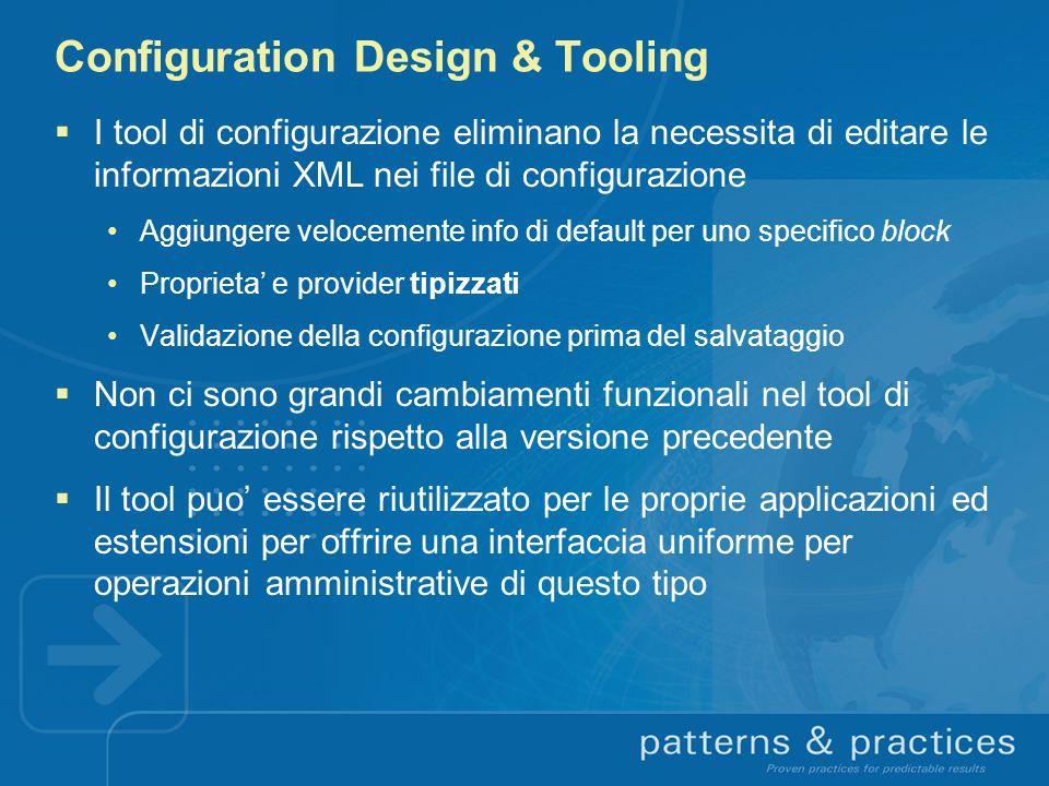 Configuration Design & Tooling I tool di configurazione eliminano la necessita di editare le informazioni XML nei file di configurazione Aggiungere ve