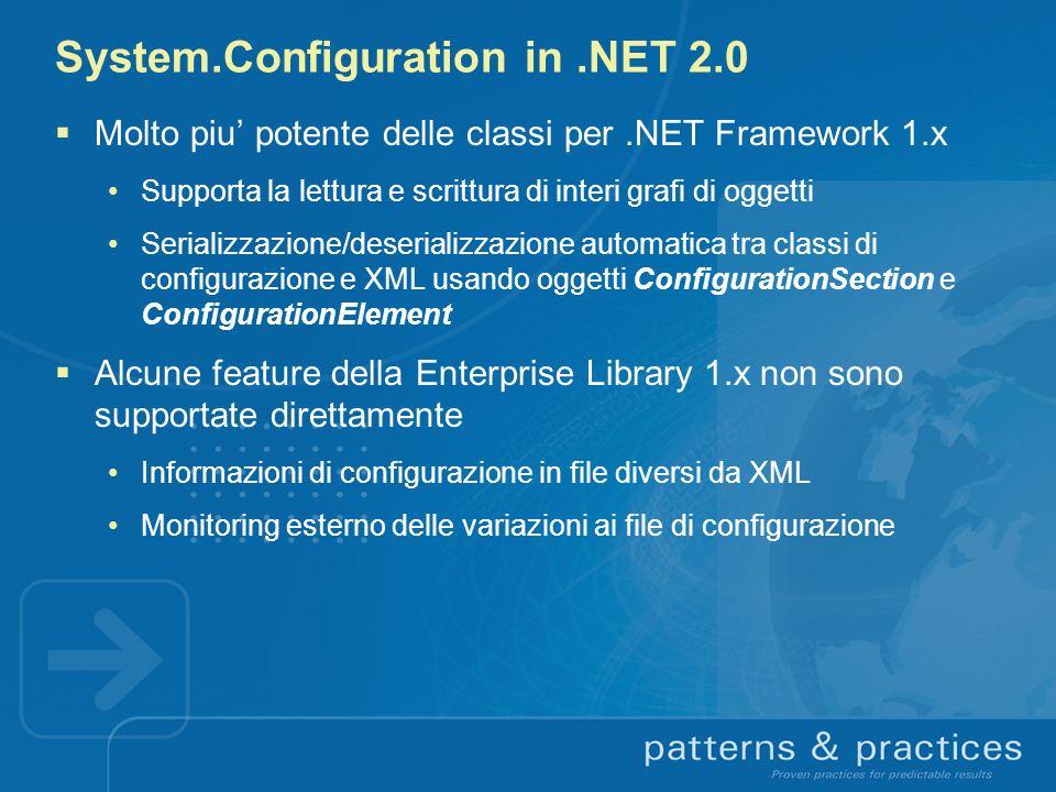 System.Configuration in.NET 2.0 Molto piu potente delle classi per.NET Framework 1.x Supporta la lettura e scrittura di interi grafi di oggetti Serial
