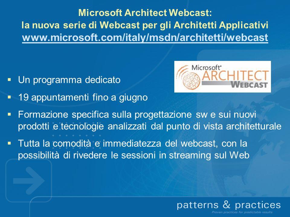 Microsoft Architect Webcast: la nuova serie di Webcast per gli Architetti Applicativi www.microsoft.com/italy/msdn/architetti/webcast www.microsoft.co