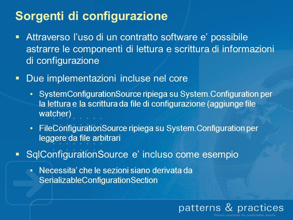 Sorgenti di configurazione Attraverso luso di un contratto software e possibile astrarre le componenti di lettura e scrittura di informazioni di confi
