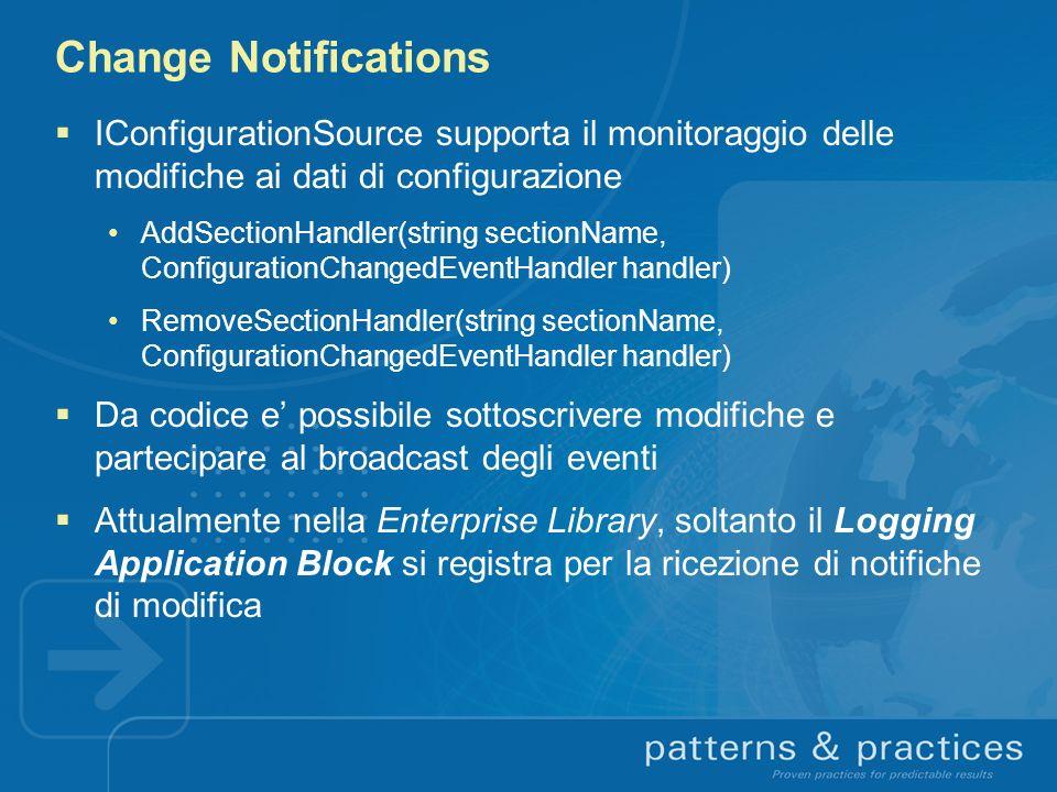 Change Notifications IConfigurationSource supporta il monitoraggio delle modifiche ai dati di configurazione AddSectionHandler(string sectionName, Con