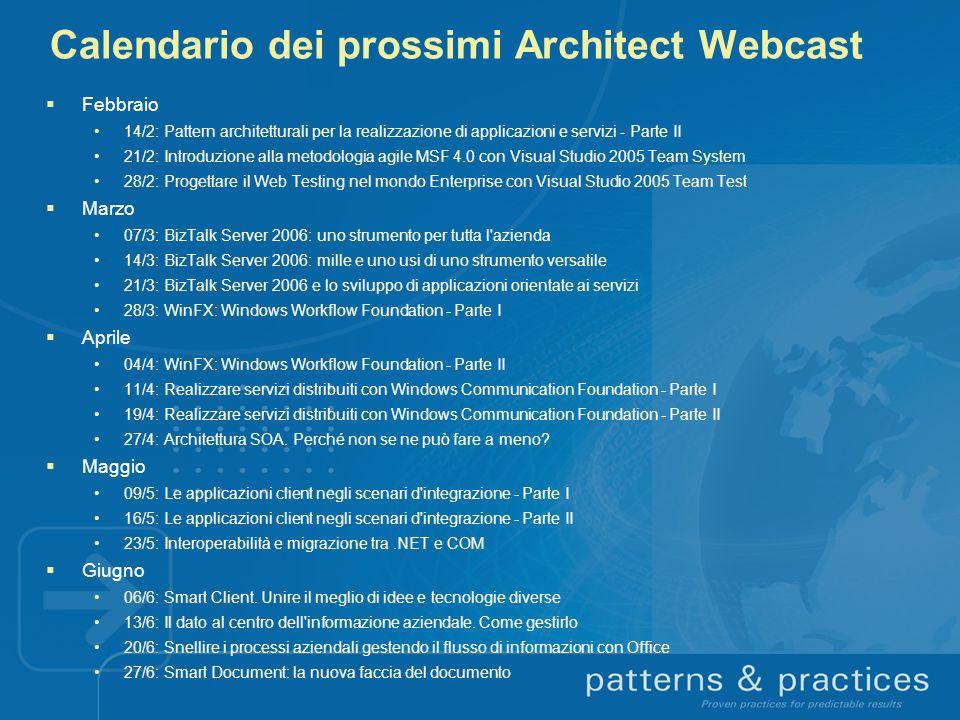 Calendario dei prossimi Architect Webcast Febbraio 14/2: Pattern architetturali per la realizzazione di applicazioni e servizi - Parte II 21/2: Introd
