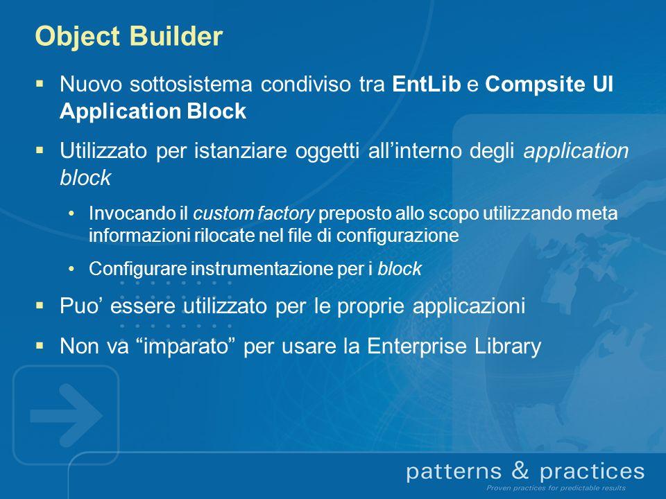 Object Builder Nuovo sottosistema condiviso tra EntLib e Compsite UI Application Block Utilizzato per istanziare oggetti allinterno degli application
