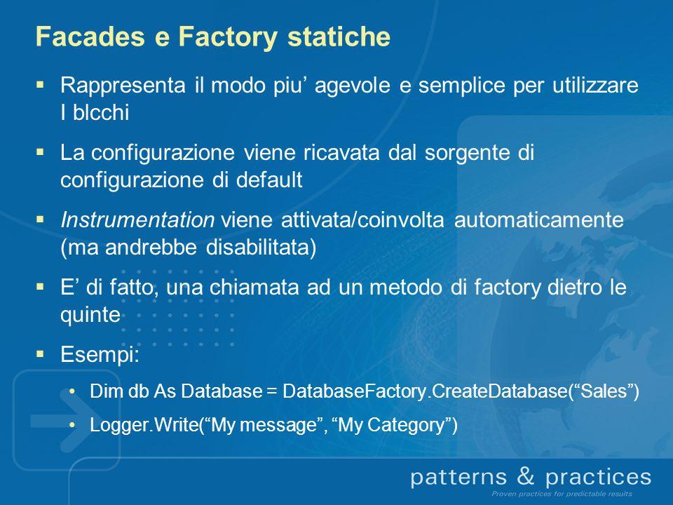 Facades e Factory statiche Rappresenta il modo piu agevole e semplice per utilizzare I blcchi La configurazione viene ricavata dal sorgente di configu