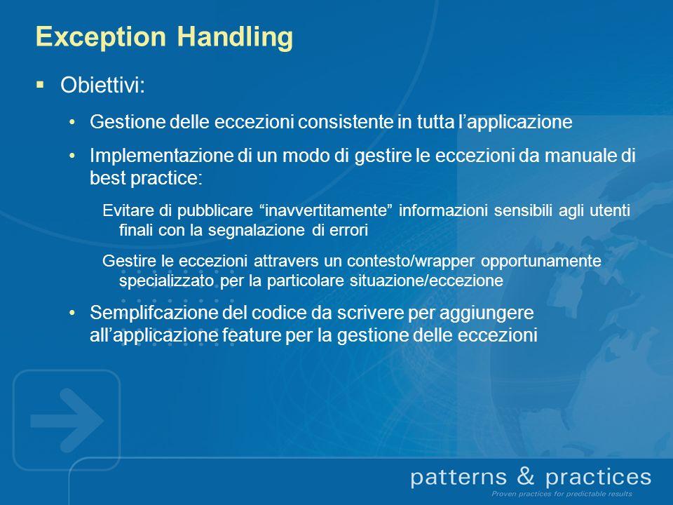 Exception Handling Obiettivi: Gestione delle eccezioni consistente in tutta lapplicazione Implementazione di un modo di gestire le eccezioni da manual