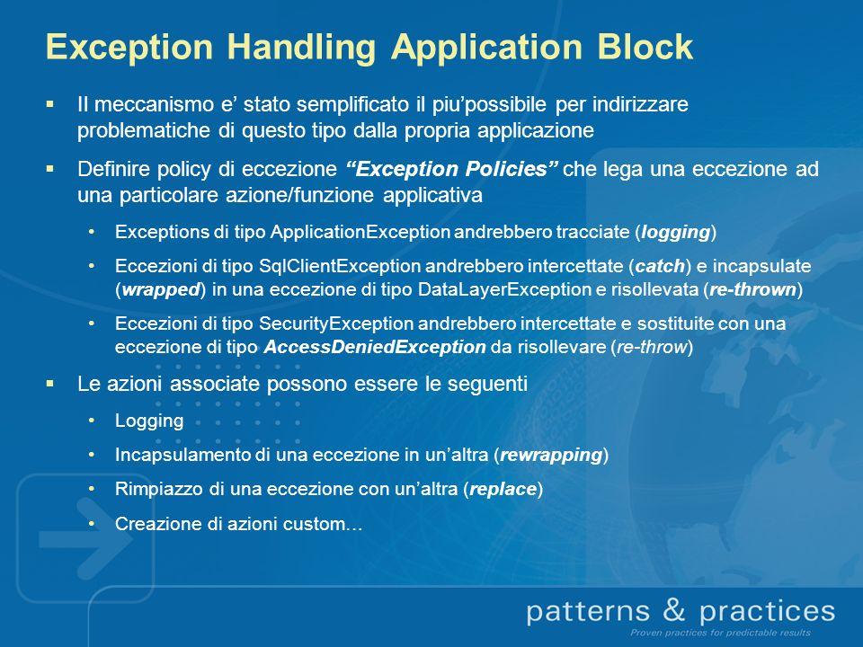 Exception Handling Application Block Il meccanismo e stato semplificato il piupossibile per indirizzare problematiche di questo tipo dalla propria app