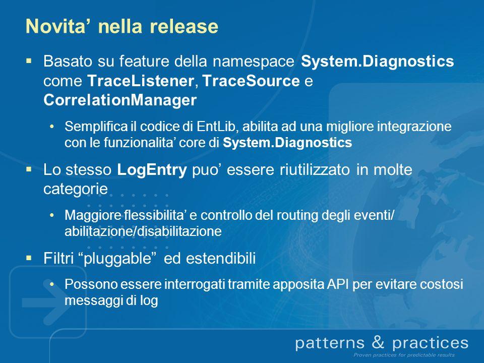Novita nella release Basato su feature della namespace System.Diagnostics come TraceListener, TraceSource e CorrelationManager Semplifica il codice di