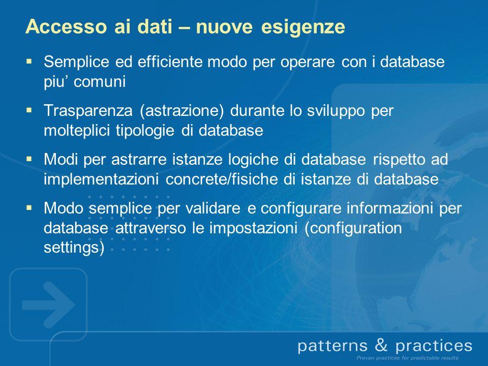 Accesso ai dati – nuove esigenze Semplice ed efficiente modo per operare con i database piu comuni Trasparenza (astrazione) durante lo sviluppo per mo