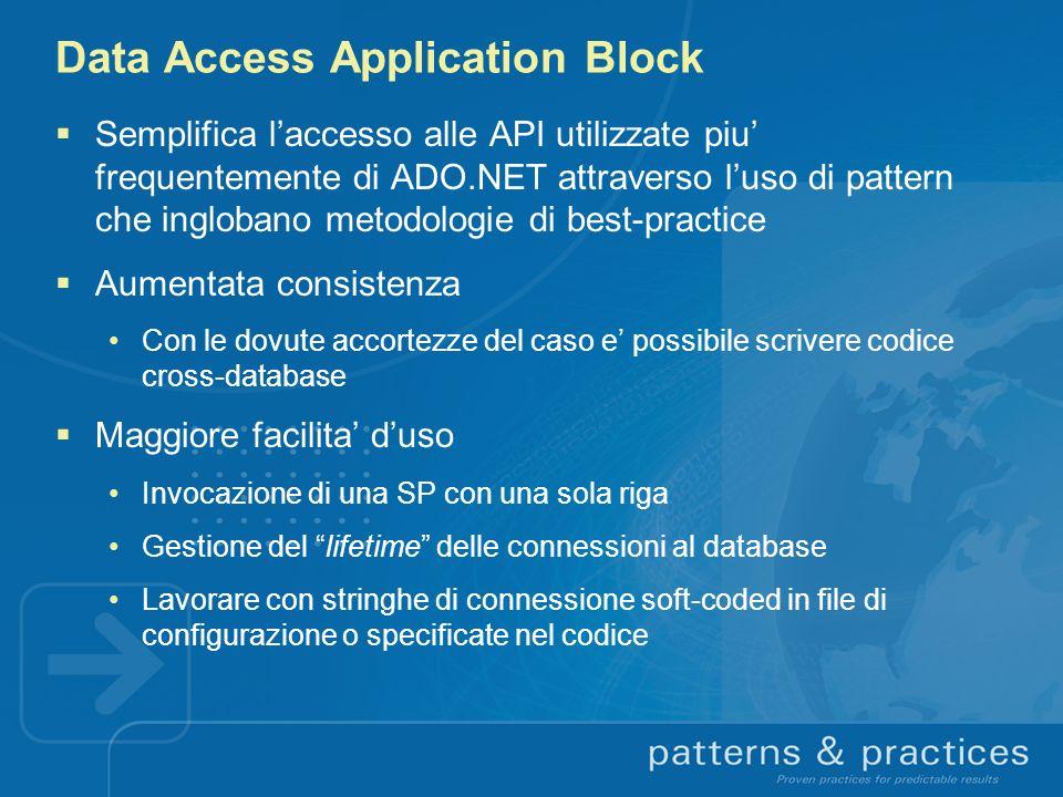 Data Access Application Block Semplifica laccesso alle API utilizzate piu frequentemente di ADO.NET attraverso luso di pattern che inglobano metodolog
