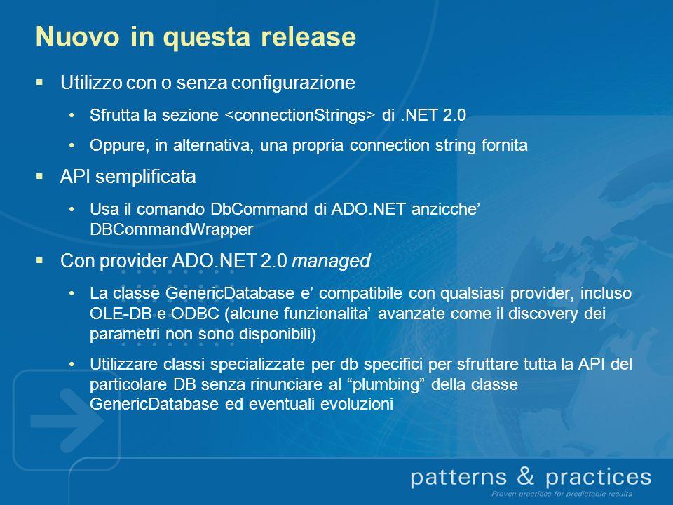 Nuovo in questa release Utilizzo con o senza configurazione Sfrutta la sezione di.NET 2.0 Oppure, in alternativa, una propria connection string fornit