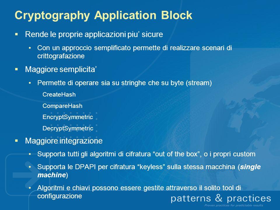 Cryptography Application Block Rende le proprie applicazioni piu sicure Con un approccio semplificato permette di realizzare scenari di crittografazio