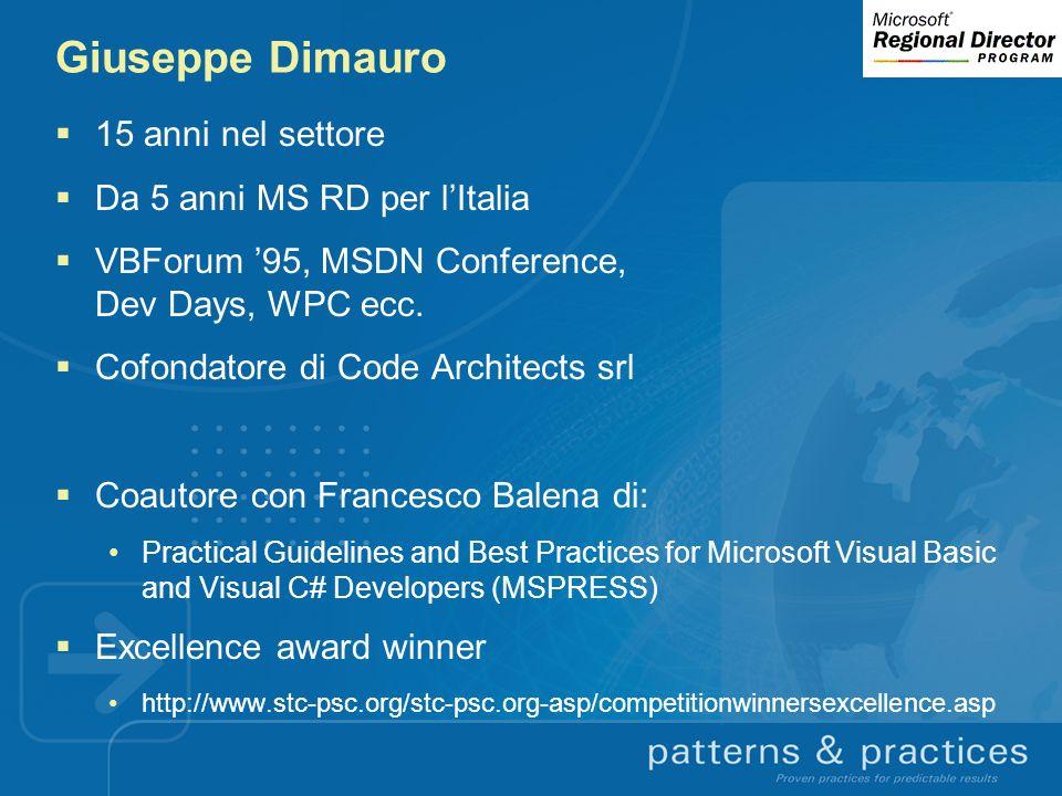 Giuseppe Dimauro 15 anni nel settore Da 5 anni MS RD per lItalia VBForum 95, MSDN Conference, Dev Days, WPC ecc. Cofondatore di Code Architects srl Co