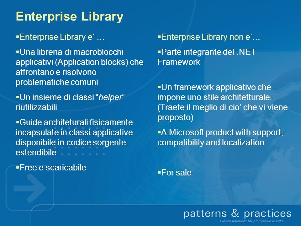 Risorse Enterprise Library : http://msdn.microsoft.com/practices Iscrivetevi alla Enterprise Library Community: http://practices.gotdotnet.com/projects/entlib Blog del team di Enterprise Library: http://msdn.microsoft.com/practices/Comm/EntLibBlogs/