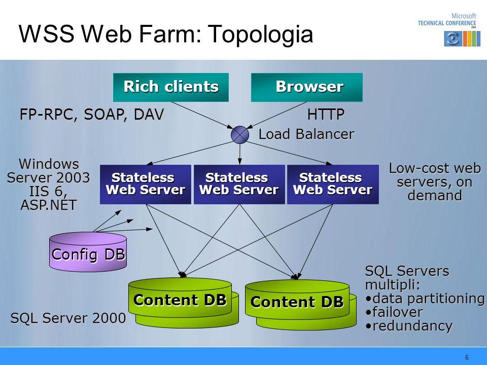 7 Content & Configuration Databases Configuration Database: –Responsabile del mantenimento dello stato della farm (elenco dei server, elenco dei database, elenco dei site,…) –Una WSS Farm ha uno ed un solo configuration database –Aggiungere un nuovo front-end ad una farm implica semplicemente connetterlo al configuration database Content Database: –Repository per tutto il contenuto erogabile da un front-end server (documenti, liste, web part pages..): –Un virtual server ha uno o più ContentDB corrispondenti –Connettere un virtual server ad un content database è sufficiente per erogare servizio