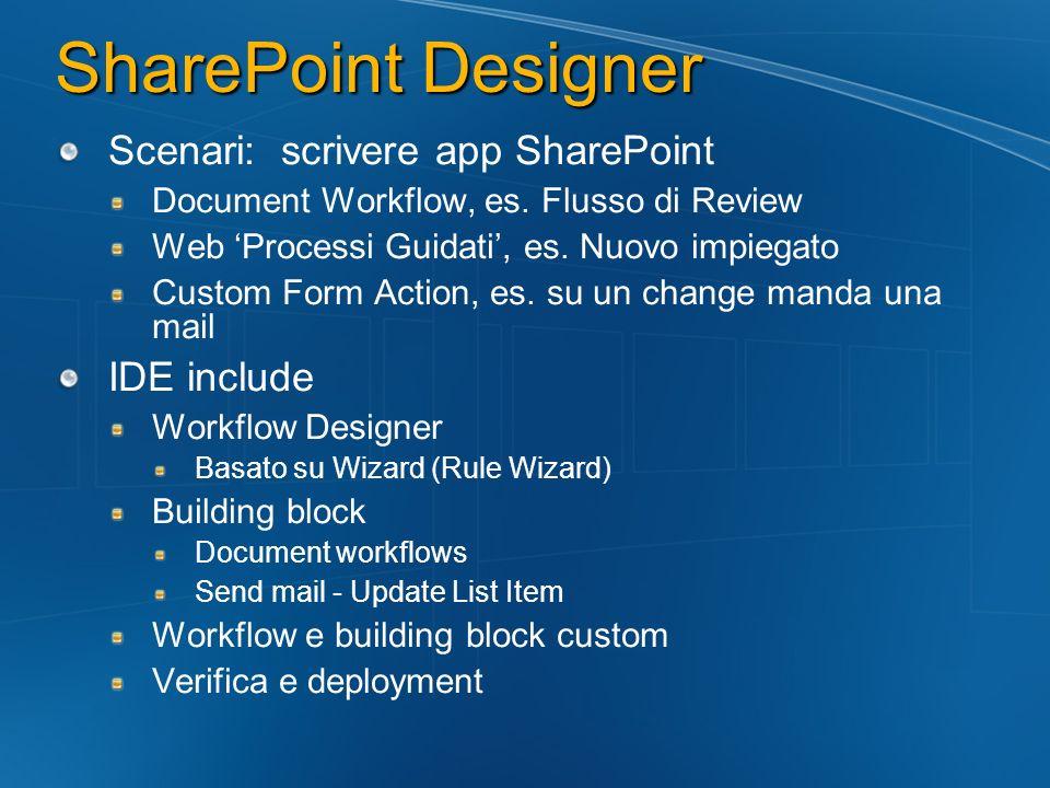 Office Workflow Host WSS fornisce Persistence Sul DB di Sharepoint per SPListItem Event Delivery Timer History e Reporting WSS Application Integration WF è ospitato nel processo WSS su tutte le macchine front-end Le istanze vengono deidratate nel DB