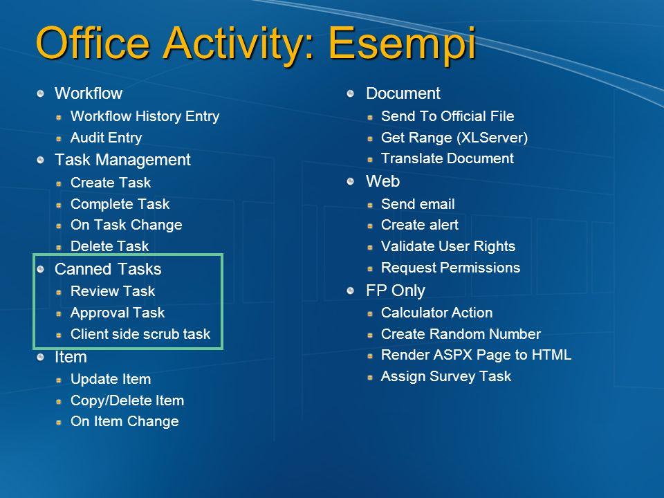 Deploy -> SharePoint Server Generare i file con i Metadata Feature.XML Workflow.XML Installare/Attivare il tutto GACUTIL –i assemblyWF.dll STSADM...