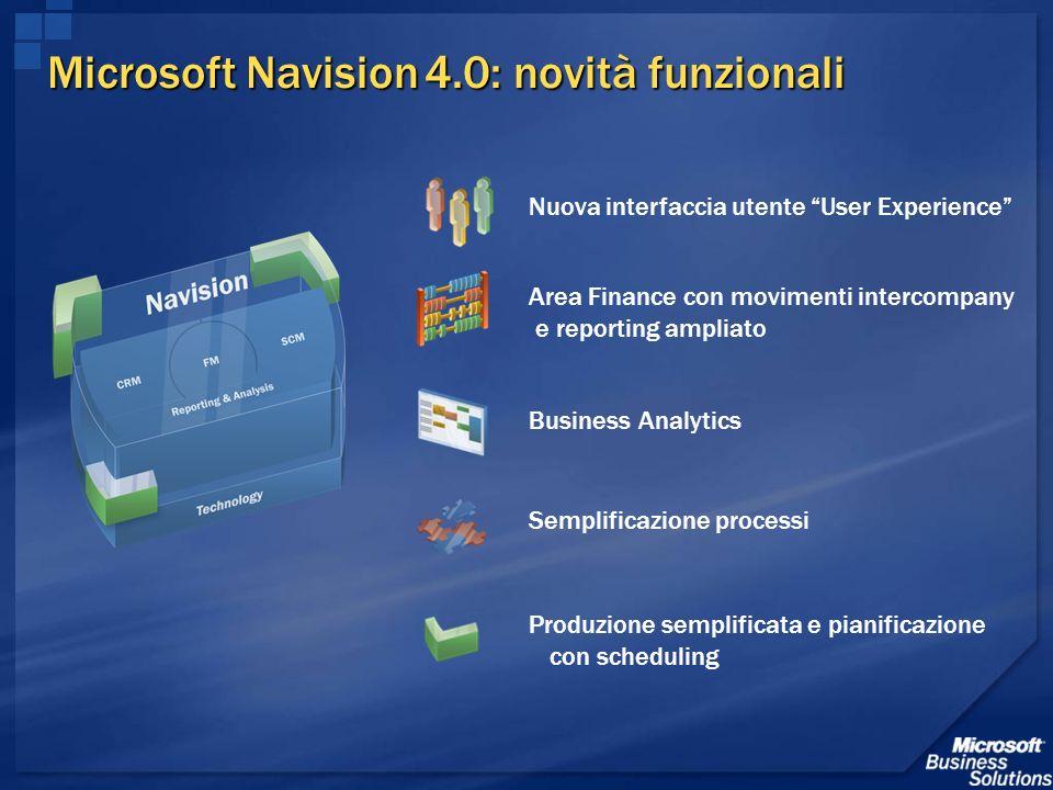 Microsoft Navision 4.0: novità funzionali Nuova interfaccia utente User Experience Produzione semplificata e pianificazione con scheduling Semplificaz