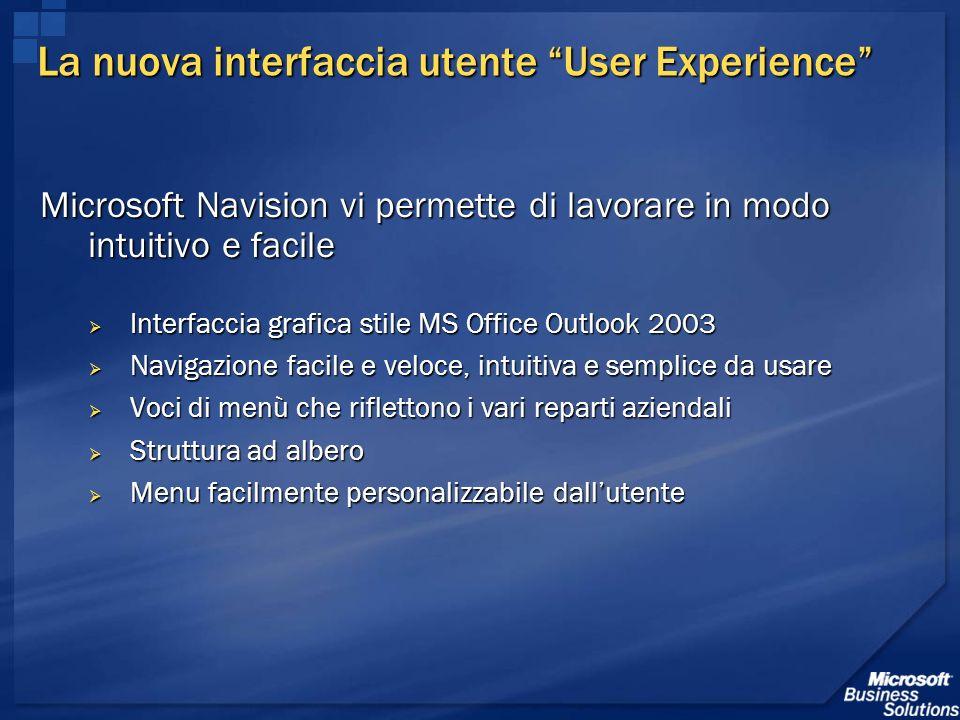 La nuova interfaccia utente User Experience Microsoft Navision vi permette di lavorare in modo intuitivo e facile Interfaccia grafica stile MS Office