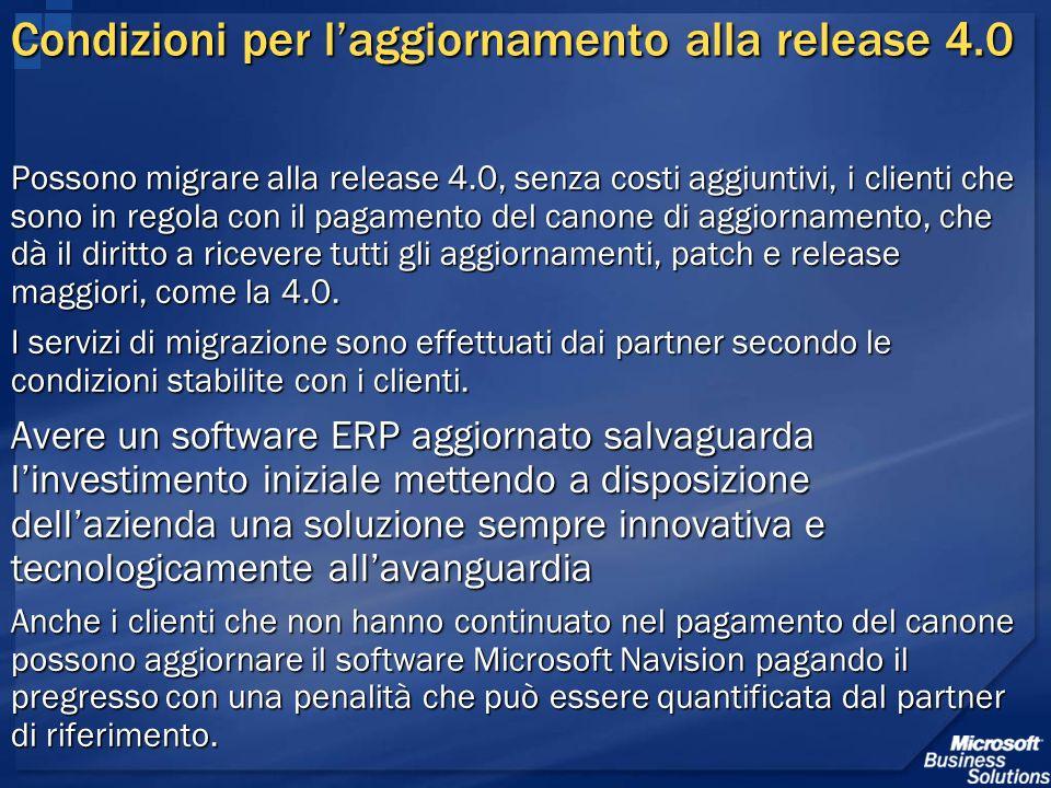 Condizioni per laggiornamento alla release 4.0 Possono migrare alla release 4.0, senza costi aggiuntivi, i clienti che sono in regola con il pagamento