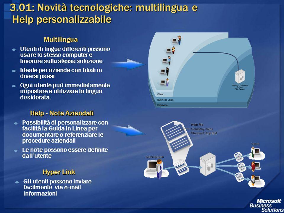 3.01: Novità tecnologiche: multilingua e Help personalizzabile Multilingua Utenti di lingue differenti possono usare lo stesso computer e lavorare sul