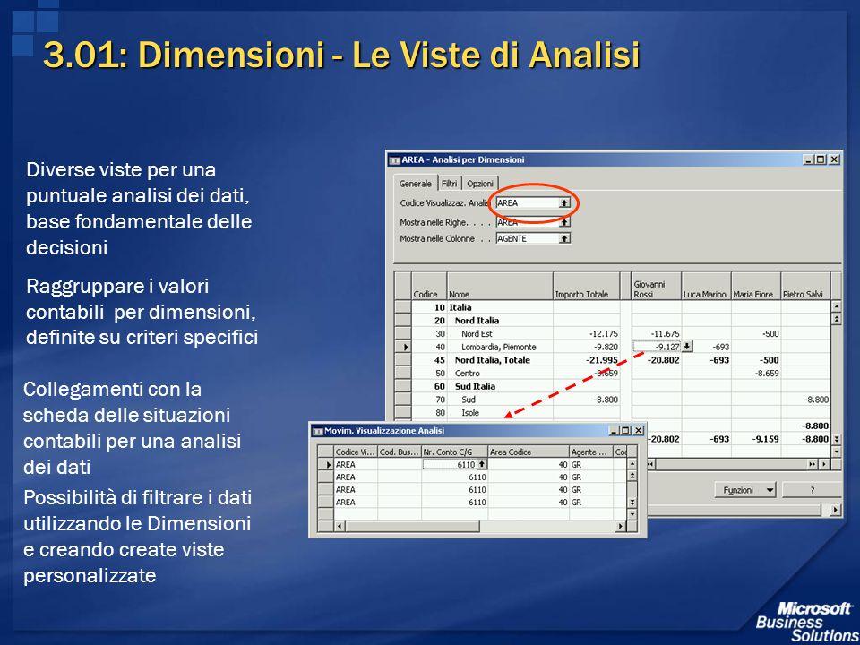 3.01: Dimensioni - Le Viste di Analisi Diverse viste per una puntuale analisi dei dati, base fondamentale delle decisioni Raggruppare i valori contabi