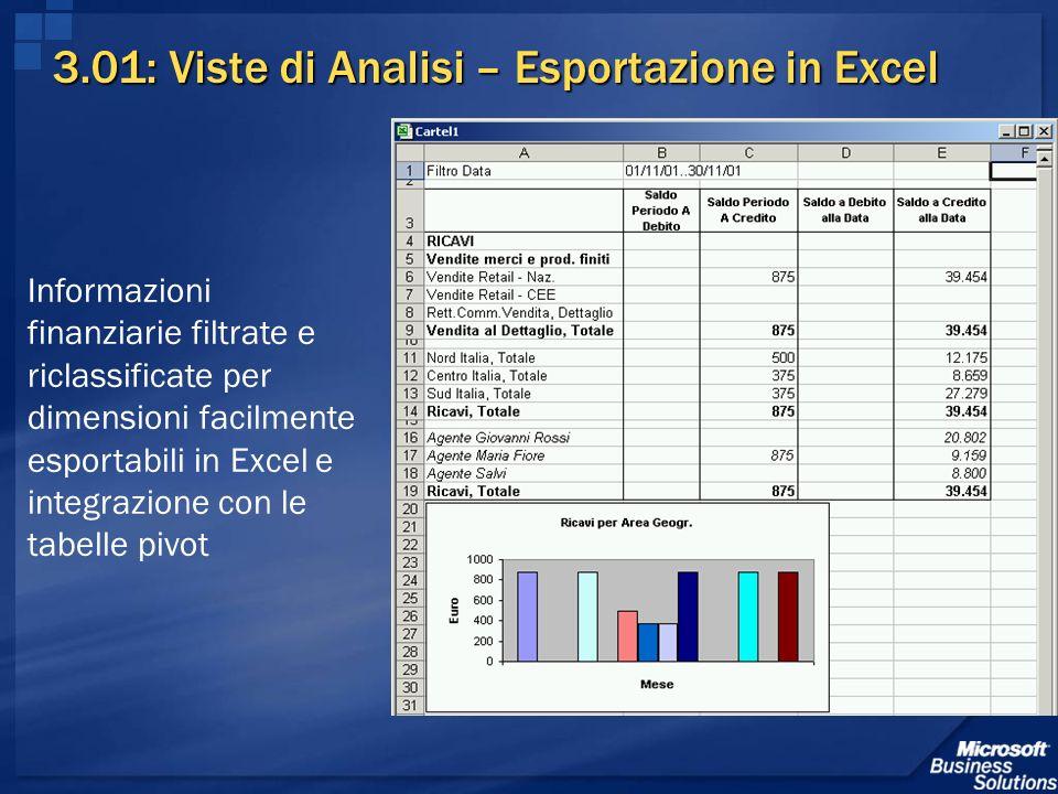 3.01: Viste di Analisi – Esportazione in Excel Informazioni finanziarie filtrate e riclassificate per dimensioni facilmente esportabili in Excel e int