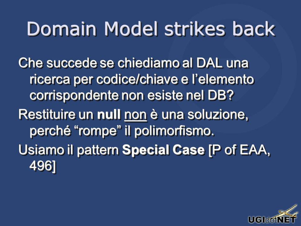 Domain Model strikes back Che succede se chiediamo al DAL una ricerca per codice/chiave e lelemento corrispondente non esiste nel DB.