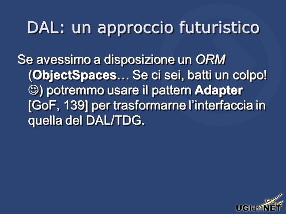 DAL: un approccio futuristico Se avessimo a disposizione un ORM (ObjectSpaces… Se ci sei, batti un colpo.